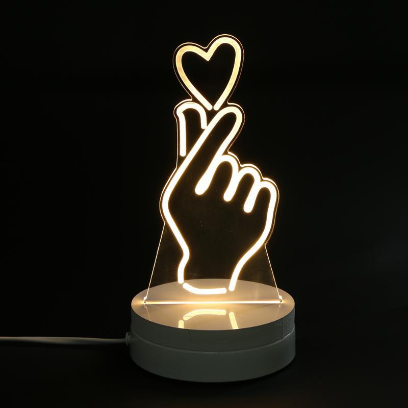 ALLOET 3D Visual Bedside Night Light Rechargeable Table Lamp for Bedroom Hand Love Heart Night Light Creative DIY Festive Gift
