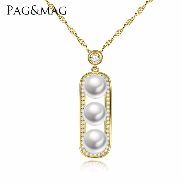 Pagmag brand 925 sterling silver 3 pearls pendant necklace for pagmag brand 925 sterling silver 3 pearls pendant necklace for elegant women luxury wedding jewelry engagement aloadofball Gallery