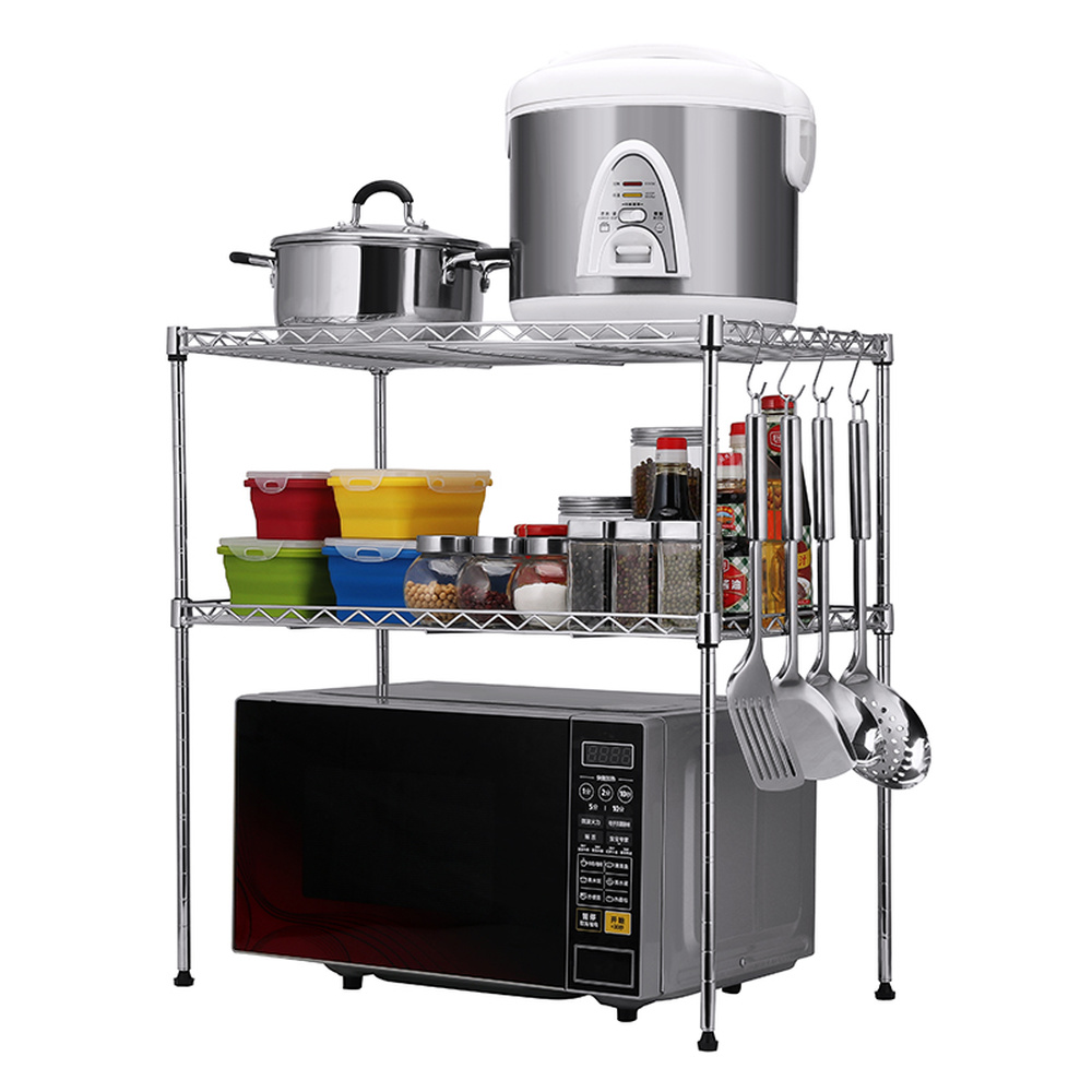 A1 Kitchen rack microwave oven floor 2 layer rice cooker oven shelf seasoning storage rack spice