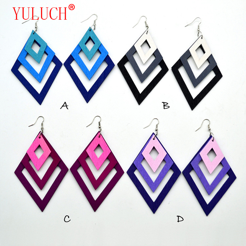 YULUCH Colorful geometric hollow rhombus pendant multi-graded gradient long wooden earrings African female accessory jewelry