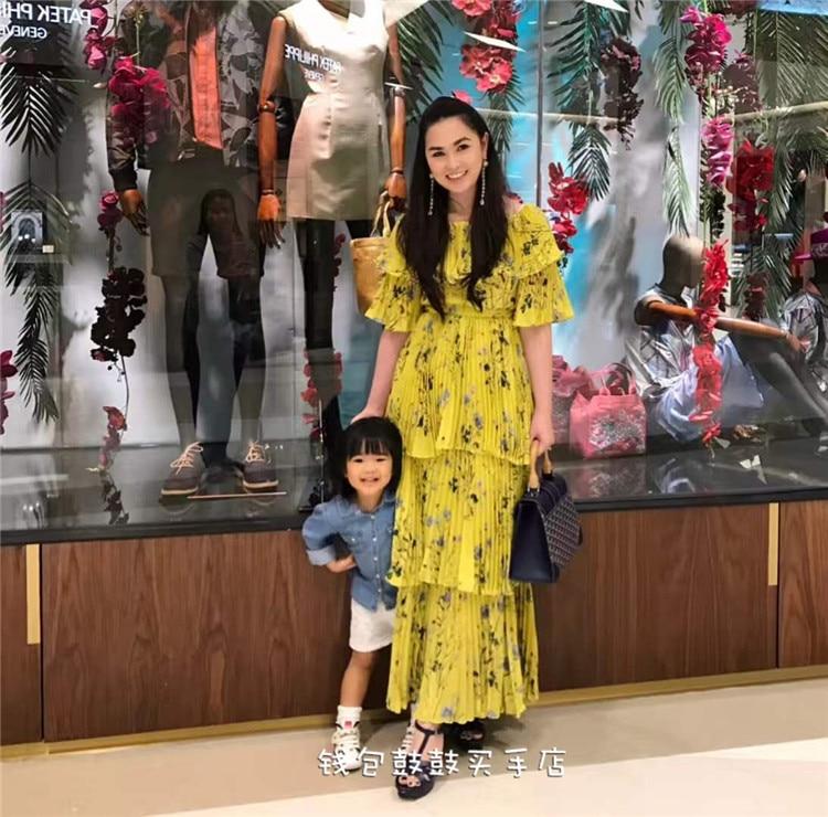 2018 Haute Plissées Mexi Épaule Robe Qualité Imprimer Offre Femme D'été Robes Femmes Fasion Jaune Longue c5Rjq3L4AS