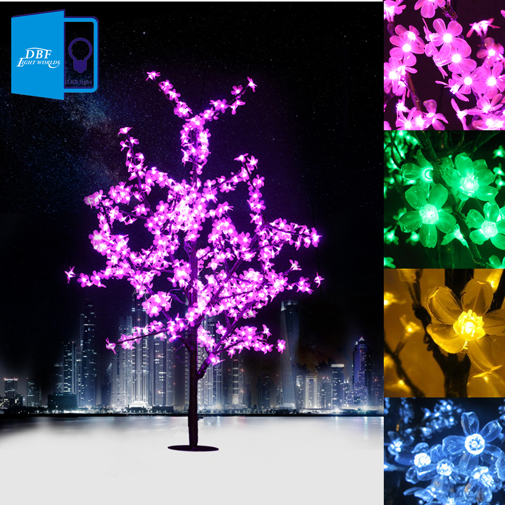 1.5M 1.8M LED Crystal Cherry Blossom Tree Lights Christmas New Year Luminaria Decorative Tree Lamp Landscape Outdoor Lighting