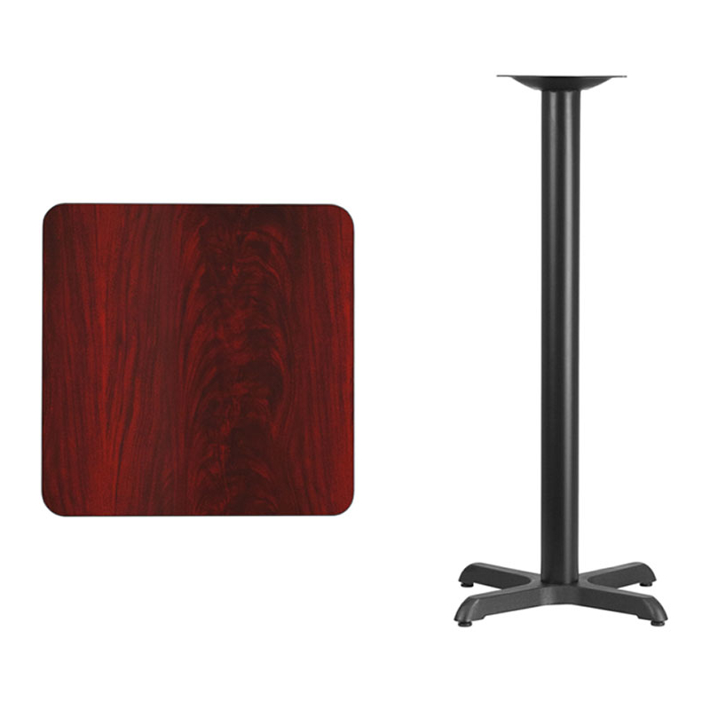 Flash Furniture 24'' Square Mahogany Laminate Table Top with 22'' x 22'' Bar Height Table Base virginia cavaliers l211 42 tall logo pub table by holland bar stool company with black wrinkle base and 28 table top diameter