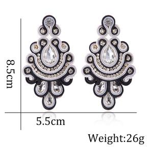 Image 2 - KPacTa Fashion Soutache Earring Ethnic Style Jewelry Women Crystal Handmade Drop Earring Accessories boucle doreille femme 2018