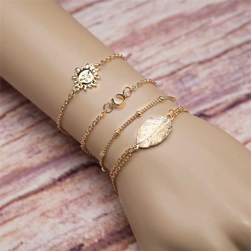 2017 New 4 PCS Brand Gold Color Link Chain Bracelet For Women Men Boho Leaf Sun