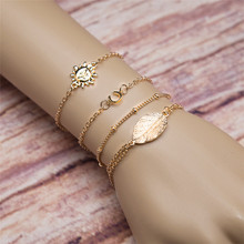 2017 New 4 PCS Brand Gold Color Link Chain Bracelet For Women Men Boho Leaf Sun Beads Leg Bracelet Party Jewelry Accessories