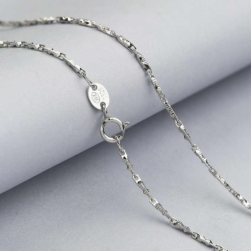 dramatic Necklace Solid 925 Sterling Silver Chain Necklace 40CM/45CM length White Gold Color
