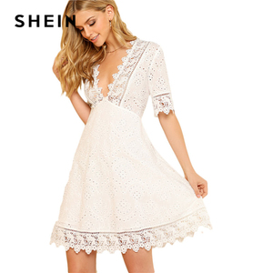Image 5 - SHEIN Lace Trim Eyelet Embroidered Dress Women White Deep V Neck Half Sleeve Cut Out Plain Dress 2018 Summer Sexy Cotton Dress