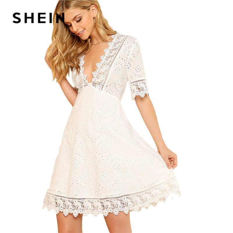 SHEIN Lace Trim Occhiello Ricamato Delle Donne del Vestito Bianco Profondo Scollo A V Mezza Manica Cut-Out Pianura Vestito 2018 Sexy di Estate vestito di cotone