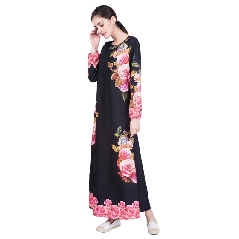 1870dea06f9 Kaftan Abaya Jilbab Islamic Muslim Cocktail Women Long Sleeve Robe Linen  Digital Printing Flower Dress T6-in Islamic Clothing from Novelty   Special  Use on ...