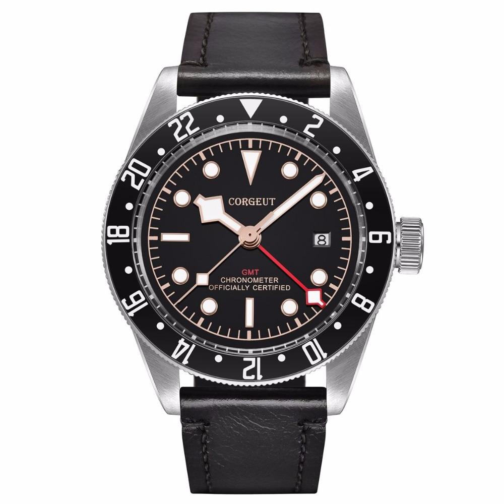 Corgeut Luxury top Brand Mechanical Watch sapphire glass GMT Men Automatic Military Sport Swim Clock Leather
