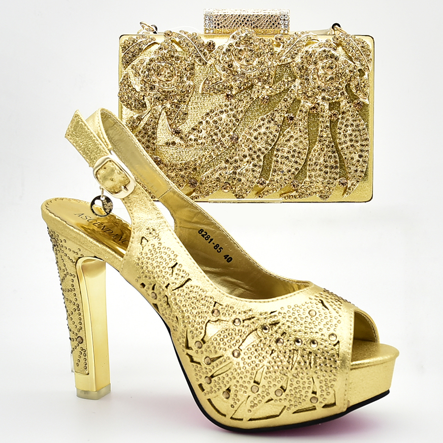 a45b8754635 Gold Color elegant clutches bag with matching shoes high heel inches for  african lady in aso ebi lace fabric dress party