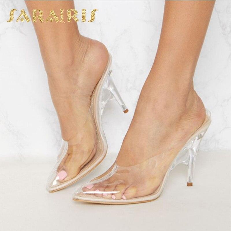 Sarairis nouvelle mode grande taille 35-43 livraison directe sans lacet chaussures d'été femme chaussures talons hauts INS chaussures femme pompes Mules