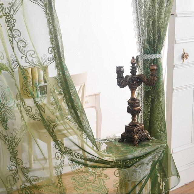 Date Style Européen Vert Tulle Cartains Broderie De Luxe Gaze Rideau ...