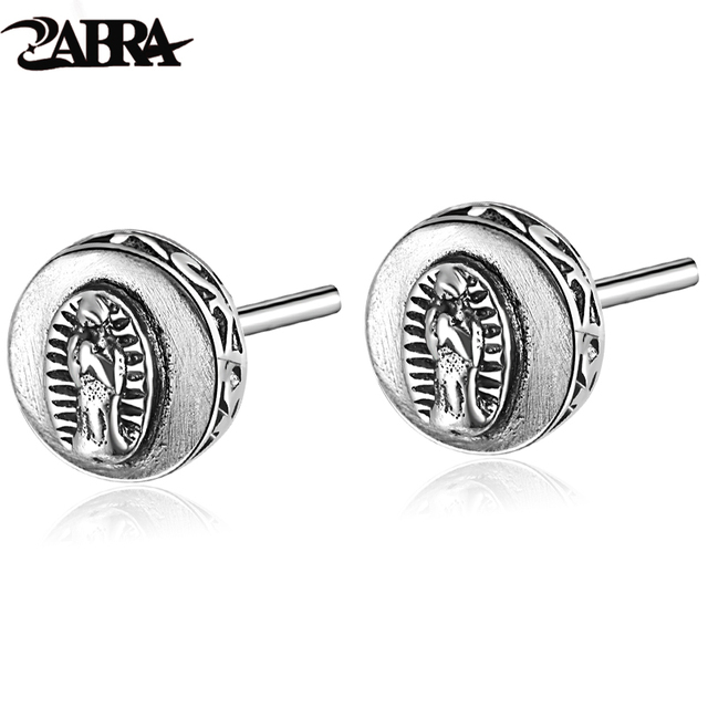 925 Sterling Silver Earring Virgin Mary Stamp Studs Set Handmade Cute Rock Punk Retro Jewelry For Women And Men Brinco Masculino