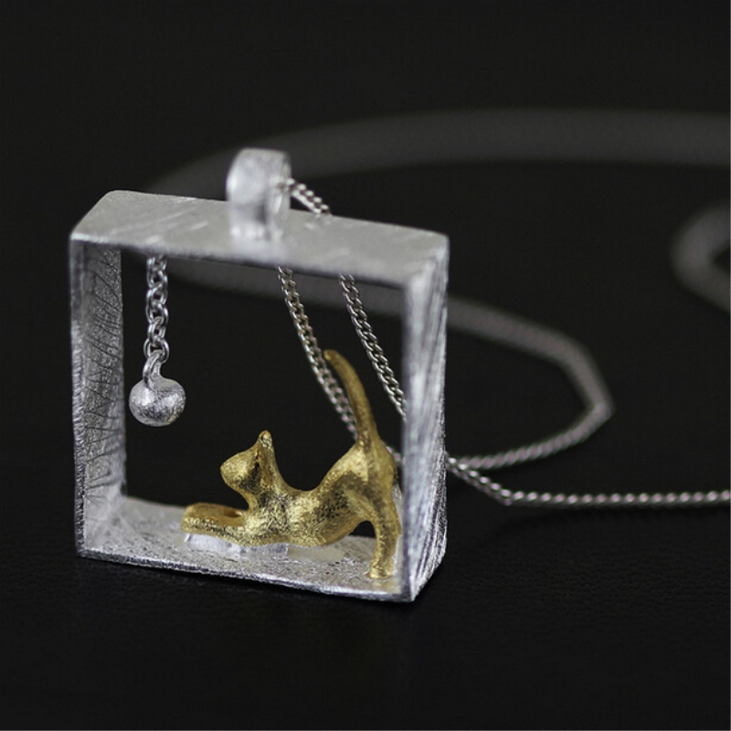 Cute Cat Ball Square Clavicle Chain 925 Sterling Silver Temperament Personality Fashion Female Jewelry Necklace SNE024 925 sterling silver diamond dream catcher necklace fashion simple clavicle chain c03