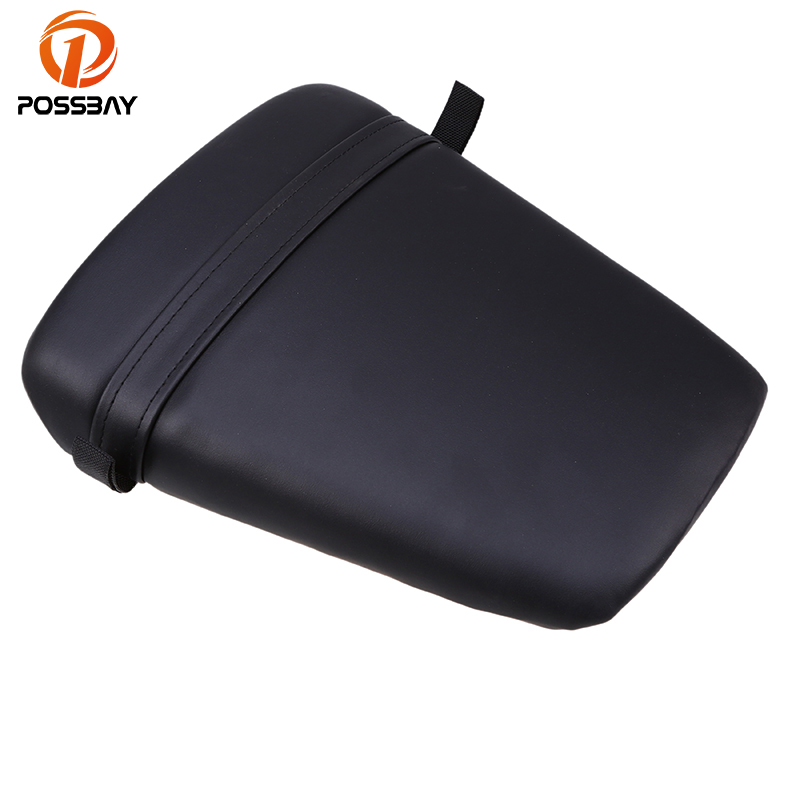 POSSBAY Black Motorcycle Rear Back Seat Cover Motorbike Seat Pads Leather Durable For Yamaha YZF R6 1998 1999 2000 2001 2002
