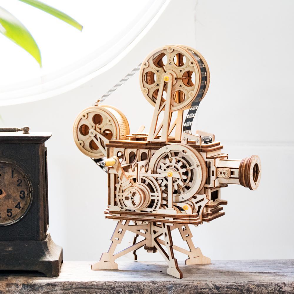 Robotime 2019 Nouvelle Arrivée Main Manivelle Diy 3D Flim Projecteur En Bois Jeu de Puzzle Assemblée Jouet Cadeau pour Enfants Adulte LK601 - 4