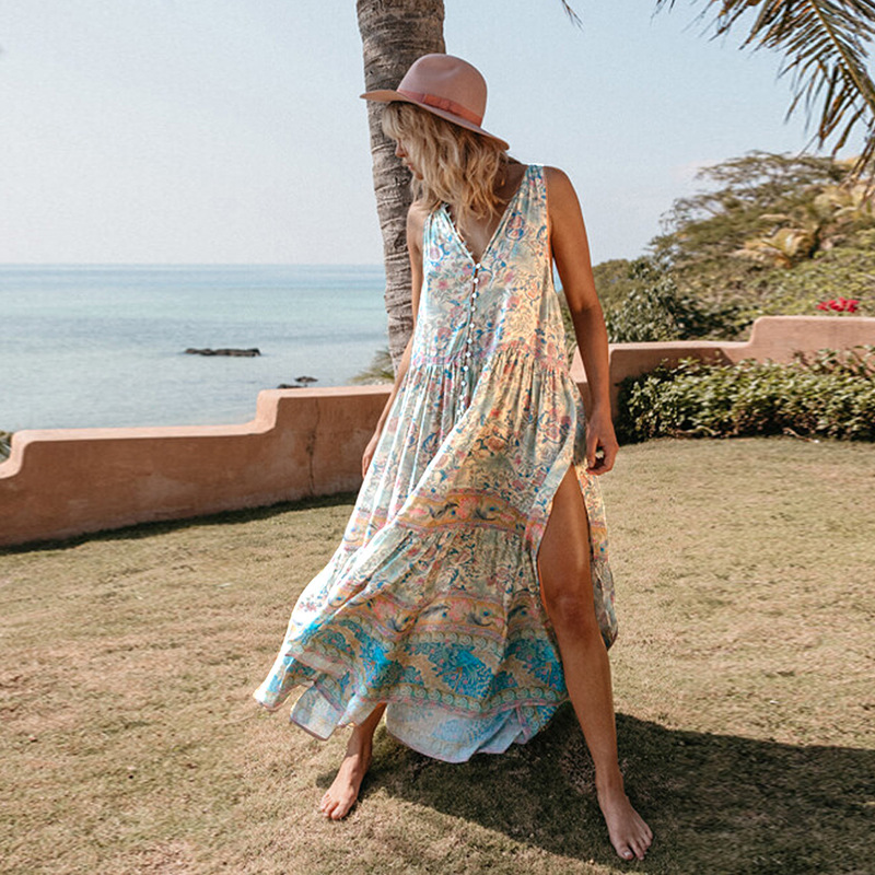Plage jupe robes sorties combinaison robe tunique été Saida De Praia grande taille 2019 nouveau imprimé mousseline De soie cou court à manches longues