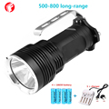 LED Flashlight 18650 Battery CREE XM L2 Aluminum light cup long-range 500-800 m Outdoor portable Rechargeable Searchlight