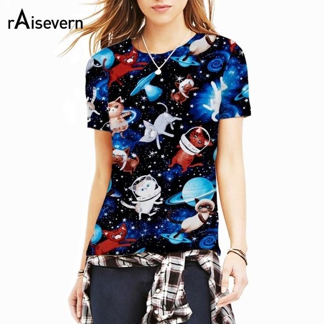 9bc5d3234 Raisevern Astronauta Bonito Gatinho Em Gato Camiseta Espaço Galáxia  Nebulosa Universo 3d T Camisa Tops Para