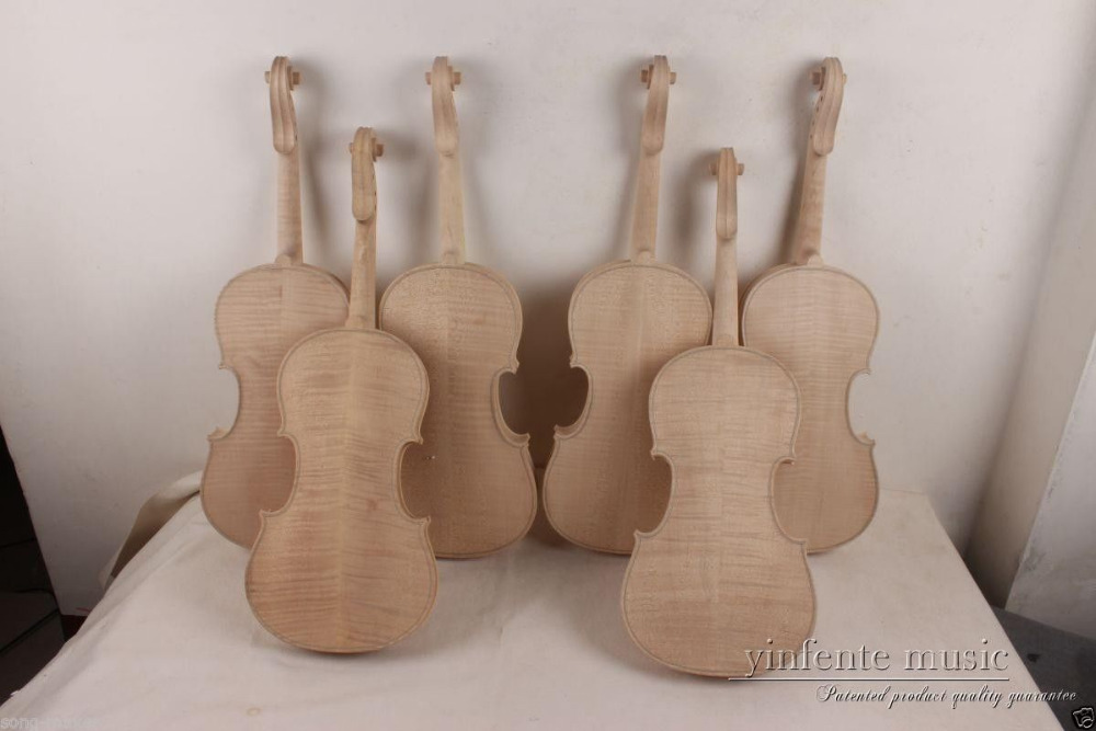 4 pcs New 4/4 unfinished violin flame maple back ,Russian spruce top. 2 pcs new 4 4 unfinished violin flame maple back russian spruce top