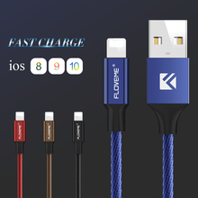 FLOVEME USB Charge Cable For iphone 7 7 plus 6 6s Plus 5s SE For ipad Metal Nylon Braid Wire Mobile Phone Cables Fast Charging
