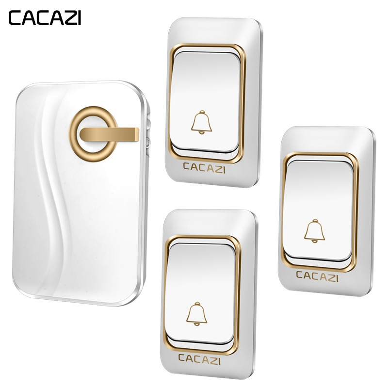 CACAZI Smart Wireless Doorbell DC battery-operated Waterproof 3 Button 1 Receiver Home Cordless door bell 36 Chimes 200M RamoteCACAZI Smart Wireless Doorbell DC battery-operated Waterproof 3 Button 1 Receiver Home Cordless door bell 36 Chimes 200M Ramote