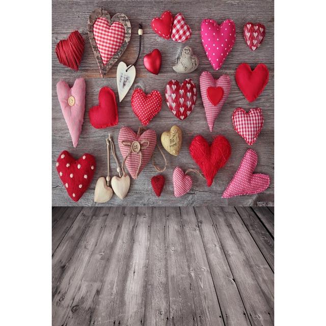 Виниловый фото фон деревянная доска сердца милые фоном для детей свадебные фон день Святого Валентина фонов для детей