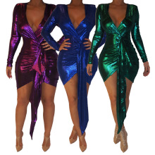 European And American Sexy Fashion Nightclub Slim-Fit V-neck Dress Sequin Package Hip