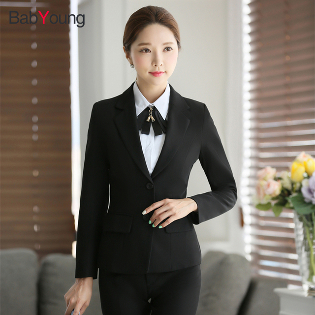 Babyoung Women S Business Blazer With Pant Suits Formal Office Trousers Suit Female Work Wear Jackets