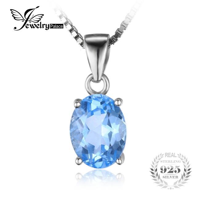 Jewelrypalace 2.1ct oval sky natural topázio azul pedra solitaire pingente 925 prata esterlina sólida sem uma cadeia de jóias