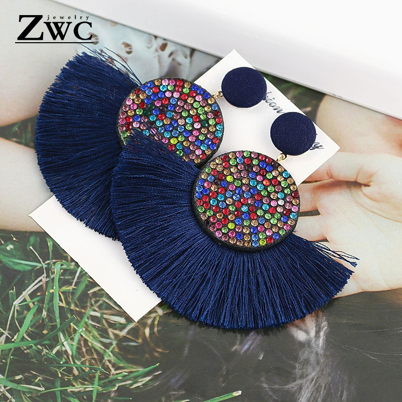 ZWC Fashion Bohemian Tassel Vintage Statement Drop Earrings  For Women Black Red  Yellow Big Dangle Fringe Earrings 2019 Jewelry(China)