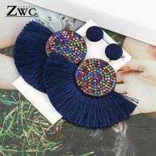 ZWC, модные, богемные, с кисточками, винтажные, массивные, висячие серьги для женщин, черные, красные, желтые, большие висячие серьги с бахромой, ювелирные изделия