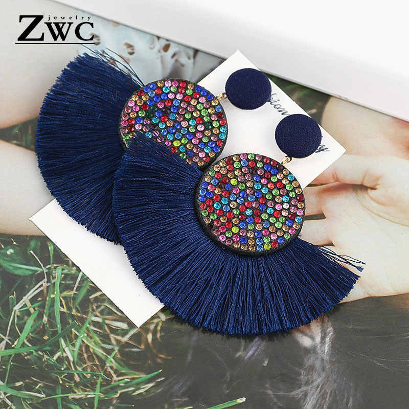 ZWC Fashion Bohemian Tassel Vintage Statement Drop Earrings  for Women Black Red  Yellow Big Dangle Fringe Earrings 2019 Jewelry
