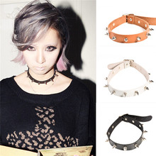 2016 Vintage Punk Rivet Black Leather Choker Necklace Gothic Metal Buckle Belt Necklace For Women Men Jewelry