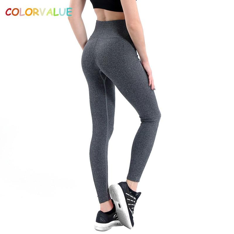 Colorvalue 10 Couleurs Mention Hip Fitness Sport Yoga Pantalon Femmes Taille Haute Sans Soudure Collants Extensible Athletic Gym Leggings