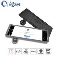 Kissen Android 5.1 Car DVR 4G 10 Inch Touch Dash Cam Rearview Mirror Dash Camera Dual Lens ADAS GPS Navigation Wifi Recorder