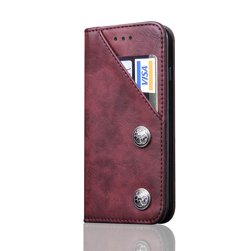 Hehan For iPhone x/6 Samsung Galaxy S9 plus/S8 Card PU Antique Bracket Flip Phone Case