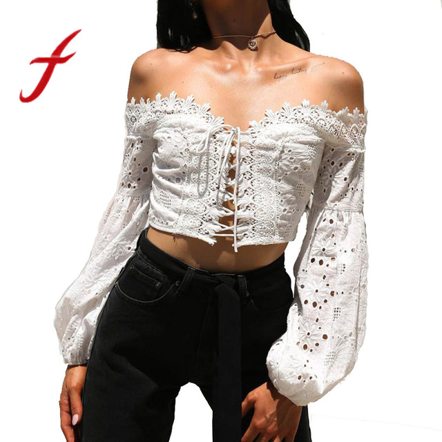 e260841a4 Feitong Boho Women Blouses Sexy Off Shoulder Tops Sexy Long Sleeve Hollow  Lace Up Loose Crop Tops Shirt Blouse blusas femininas