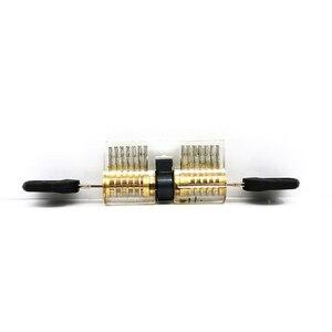 Image 4 - Набор слесарных инструментов 5 в 1, 2 прозрачных замка с 5 мини инструментами, 10 сломанных ключей, инструмент для удаления, 5 натяжных инструментов