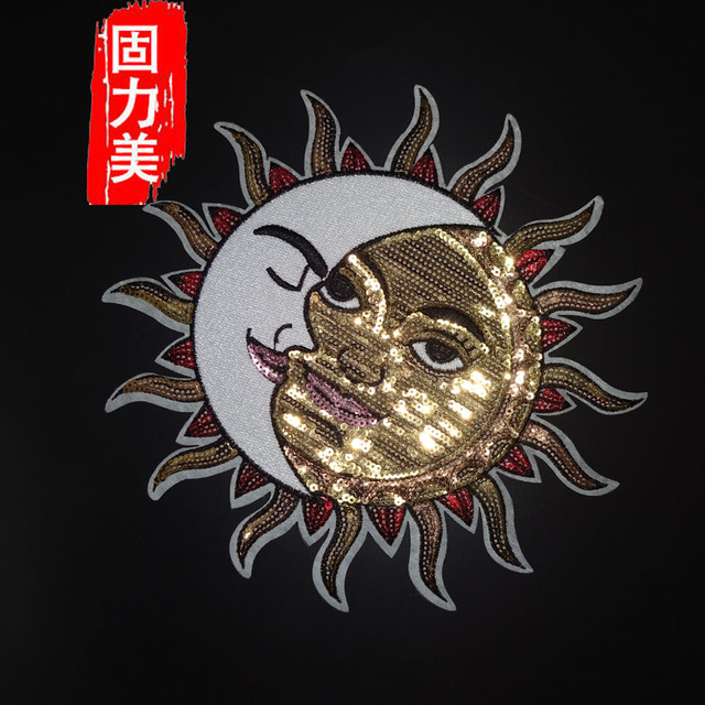1pc big size 21.5*21.5cm sun and moon sequined iron on patch