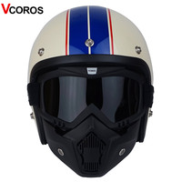 Vcoros with detachable mask men 3/4 vintage moto helmet classic harley goggles scooter retro vespa open face motocycle helmets