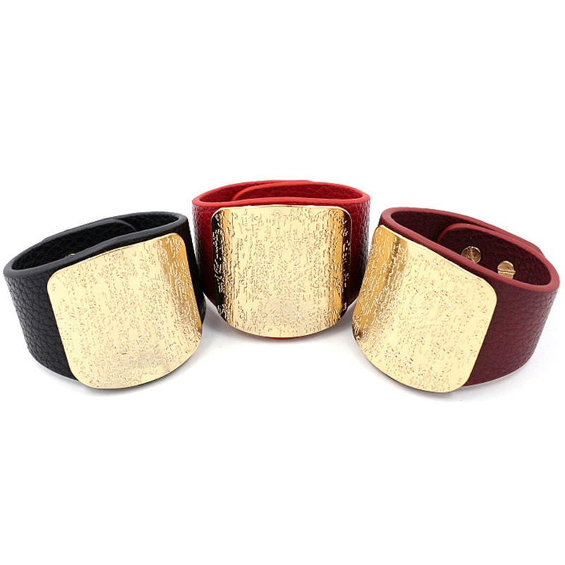 Personality Leather Bracelet Women with Alloy Buckle Adjustable Fashion Women Men Bracelets & Bangles Punk Jewelry