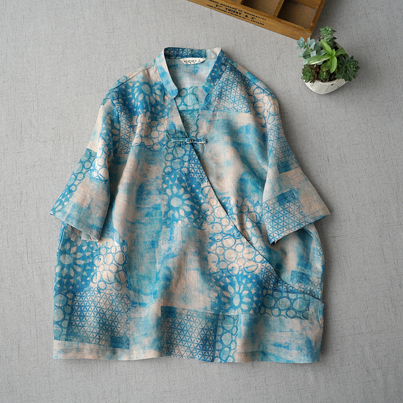 Verano nuevas mujeres Casual breve todo fósforo suelto más tamaño estilo chino botones estampado cuello en V cómodo Thin Ramie Camisas/blusas-in Blusas y camisas from Ropa de mujer    1