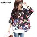 Tamanho grande Blusas 2017 Mulheres Estilo Boho Chiffon Encabeça Camisa Blusa Floral Impressão de Verão para As Mulheres Roupas 4XL Chiffon Camisas