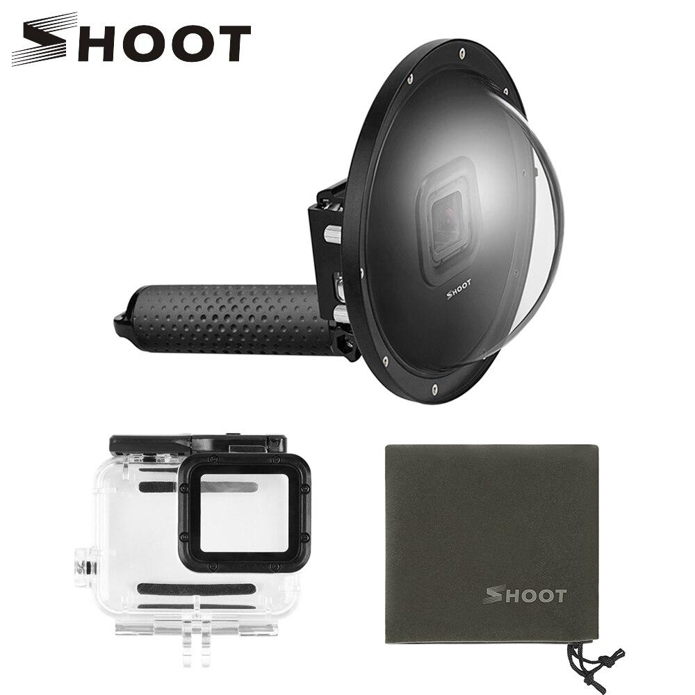 TIRER Étanche 6 pouces Dôme Sous-Marine Port Lentille pour GoPro 7 6 5 Noir Caméra Dôme Avec Flotteur Bobber pour aller Pro 6 5 7 Accessoire