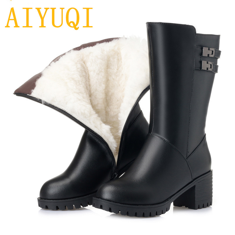 AIYUQI Women snow boots 2019 new genuine leather women boots trend high heeled big size thick