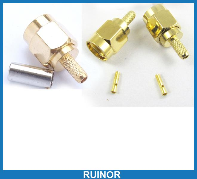 50 sets RP SMA Male Crimp Coaxial Connector for RG174 RG179 RG316 RG188 Cables 50 bnc male plug crimp rg174 rg316 lmr100 cable adapter