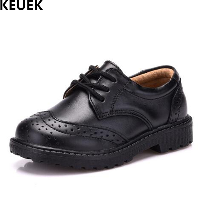 NEW Fashion Lace-Up Brogue Shoes Children Flats Sneakers Boys Girls Casual Genuine Leather Shoes Kids Baby Spring/Autumn 03 new fashion genuine leather children shoes boys girls casual brogue shoes baby breathable flats kids oxford shoes sneakers 03